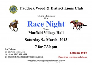 Race Night Poster~9 March